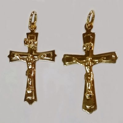 9ct Gold Crucifix pendant Italy 4cm