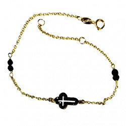 9ct Gold bracelet black Cross Greece AL'ORO