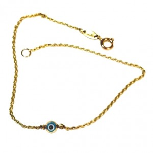 9ct gold bracelet Murano glass Evil Eye 3mm
