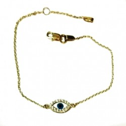 9ct Gold bracelet evil eye Mother of Pearl (13979)