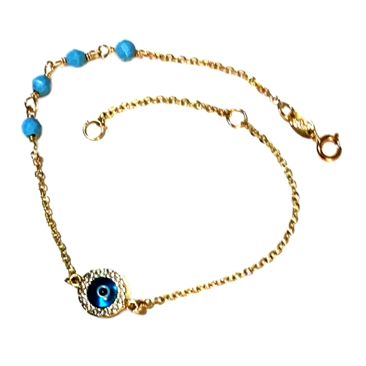 9ct Gold evil eye Beads dia cut bracelet by ALORO Beloved Treasures