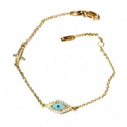9ct Gold evil eye Cross bracelet AL'ORO