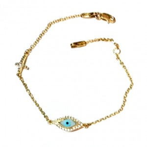 9ct Gold evil eye Cross bracelet AL'ORO