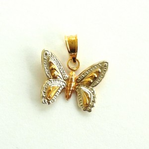 9ct yellow white rose Tri Gold Butterfly pendant