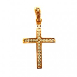 9ct rose gold Cross pendant zirconia