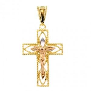 9ct tri colour Gold Crucifix pendant diamond cut