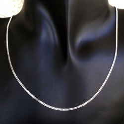 9ct white Gold chain bevelled Curb 2mm
