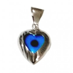 9ct white Gold Evil Eye pendant Heart