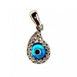 9ct white Gold Evil Eye pendant Teardrop