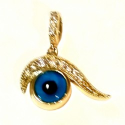 9ct yellow Gold lucky eye pendant Swirl