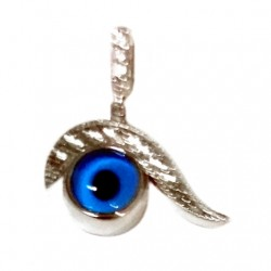 9ct White Gold evil eye pendant Swirl