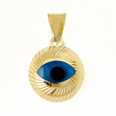 9ct yellow Gold Evil Eye pendant charm diamond cut 10mm
