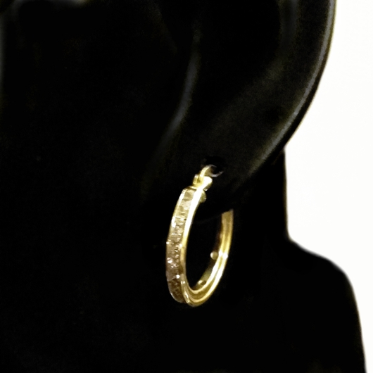 9ct 9kt yellow Gold hoop earrings zirconia 20mm Italy