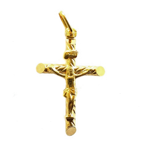 Gold crucifix pendant twist 4cm 9ct gold crucifix pendant twist 4cm aloadofball Choice Image