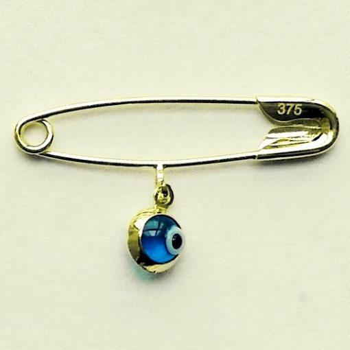 9ct Gold baby pin brooch Lucky evil Eye