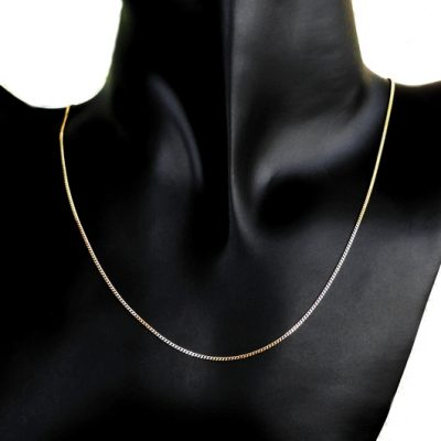 9ct Gold Curb diamond cut chain 1.25mm Italy
