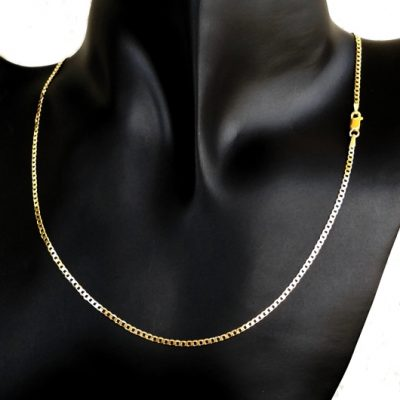9ct Gold Curb diamond cut chain 2mm Italy
