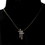 9ct-9kt-yellow-gold-double-cross-pendant-zirconia-Curb-chain
