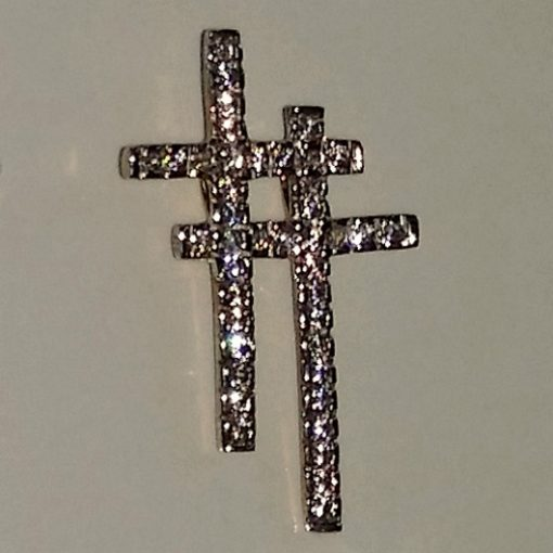 9ct 9kt yellow Gold double Cross pendant zirconia