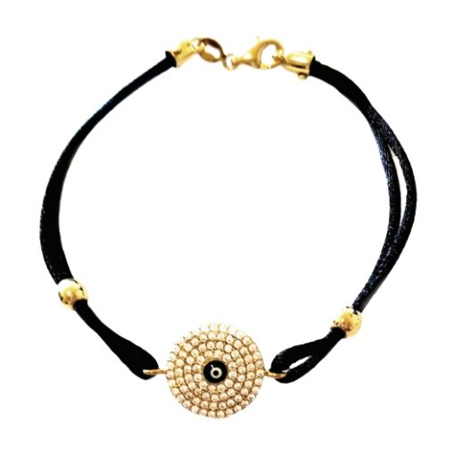 9ct Gold bracelet evil eye protection zirconia