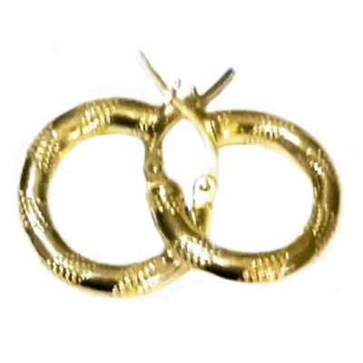 9ct 9kt Gold hoop earrings Grid 16mm Italy