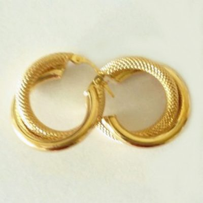 9ct Gold earrings double hoop half Florentine 20mm Italy