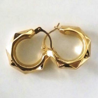 9ct 9kt Gold hoop earrings hexagonal 16mm Italy