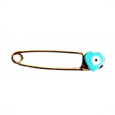 9ct yellow Gold baby pin brooch blue heart evil eye