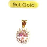 9ct-gold-pendant-cluster-pink-clear-zirconia