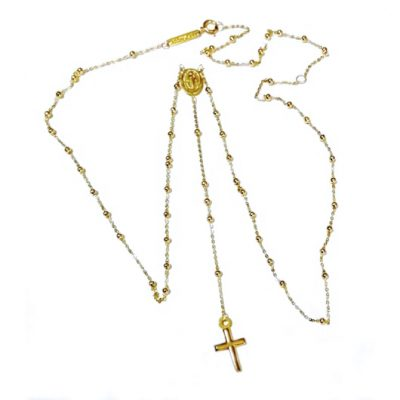 9ct Gold rosary beads necklace Italy