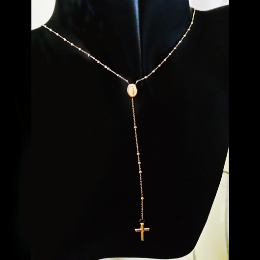 9ct Gold Rosary Beads Necklace Italy Miraculous Medal Cross
