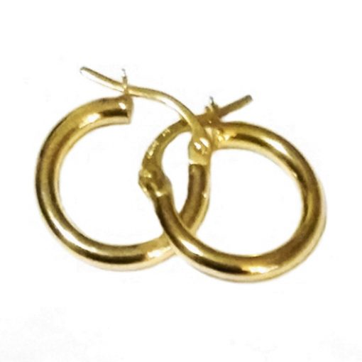 9ct 9kt Gold hoop earrings smooth 14mm Italy