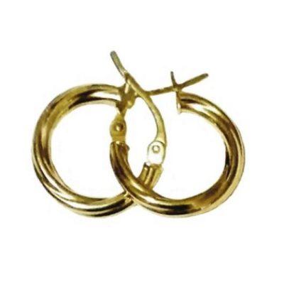 9ct 9kt Gold hoop earrings Swirl 14mm Italy