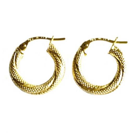 9ct 9kt Gold hoop earrings Twist 15mm Italy
