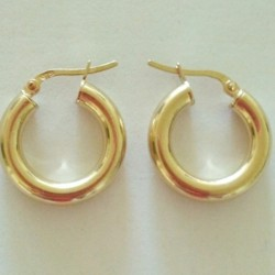 9ct Gold hoop earrings 18mm Italy