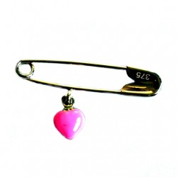 9ct yellow Gold baby pin brooch pink heart