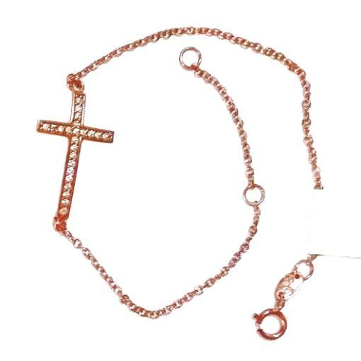 9ct rose gold cross bracelet zirconia