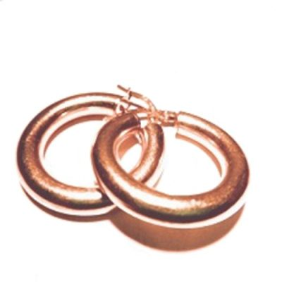 9ct rose Gold hoop earrings 24mm Italy