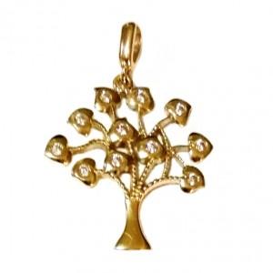 9ct yellow Gold Tree of Life pendant zirconia