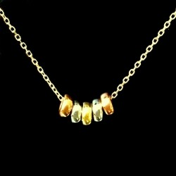 9ct tri Gold Lucky Rings necklace 45cm Italy UnoAerre