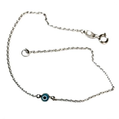 9ct White Gold bracelet evil eye Murano glass 3mm