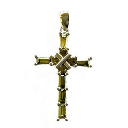 9ct white Gold Cross pendant green stones