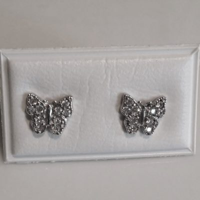 9ct white gold Butterfly earrings studs