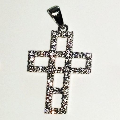 9ct white Gold Cross pendant zirconia