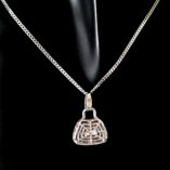 9ct-white-gold-diamond-cut-handbag-pendant-Curb-chain-Italy