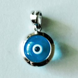 9ct white Gold Evil Eye 3D charm transparent 10mm