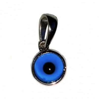 9ct white Gold Evil Eye charm pendant bezel 7mm