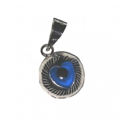 9ct white Gold Evil Eye heart pendant charm 9mm
