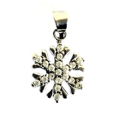 9ct white Gold pendant ice crystal Snowflake