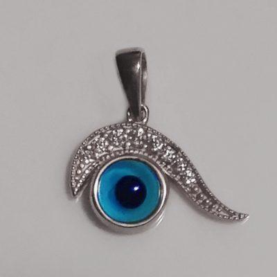 9ct White Gold evil eye pendant Swirl